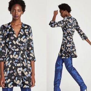 NWT Zara Black Floral V Neck Knee Length Dress L